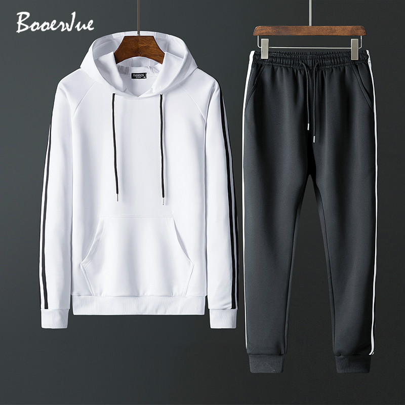 Tracksuit Men Set Contrast Stripes Sweat New 2020 2PCS Jacket+Pants Suit Zipper Patchwork Casual Hoodie Men Sets Sweatshirt Men