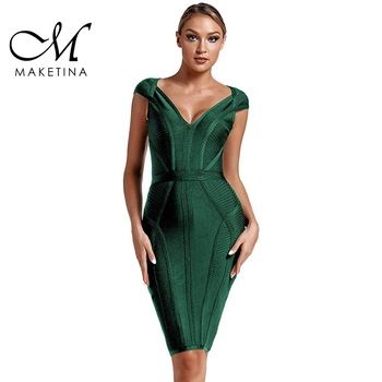 Maketina 2020 New Summer Bandage Dress Women Sexy V Neck Green Striped Bodycon Evening Party