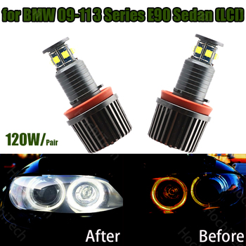 High power canbus 120W 6000K white Led angel eye halo ring led marker for BMW 2009-2011 3 Series E90 Sedan (LCI) super bright image