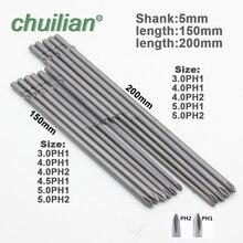 Shank 5mm 801 Magnetic Round Shank Phillips Cross Head Screwdriver Bit Set Hand Tools Long 150mm 200mm