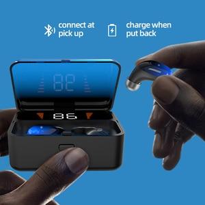 Image 3 - Topk F13/ES01 tws 5.0 bluetooth イヤホン V5.0 ポータブルステレオワイヤレスタッチインナーイヤー型スポーツ低音ヘッドセット led 電源ディスプレイ