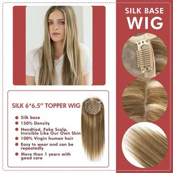 """Neitsi 16"""" 20"""" 6*6.5"""" Straight Silk Base Virgin Cuticle Woman Remy Hair Topper Wig With Clip In Natural Human Toupee Hair Pieces mw pu mono net base men toupee wig remy human hair pieces natural black 6 inches 130% density topper wigs fedex fast delivery"""