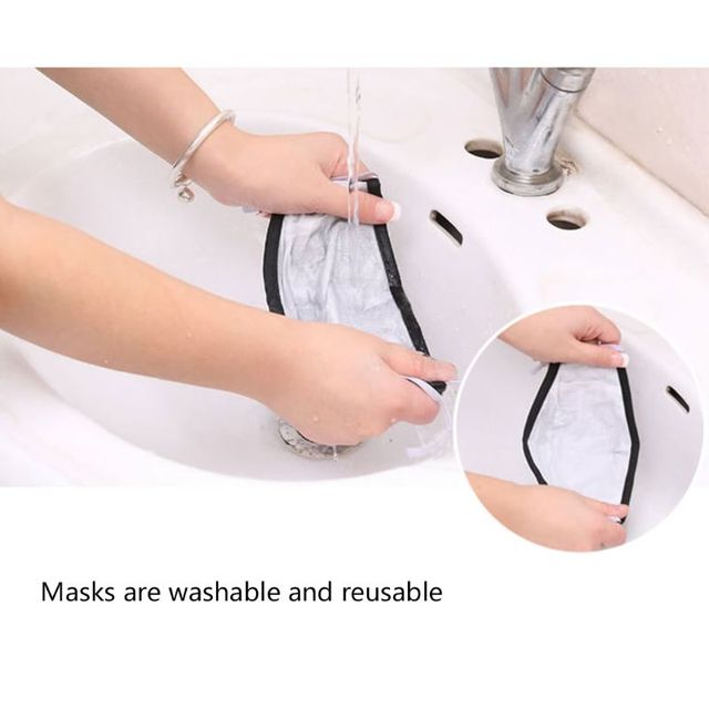 Mask with 2 Replaceable Filters Anti Pollution Mask Breathable Cotton Dust-proof Mouth Mask Replaceable Filter 3