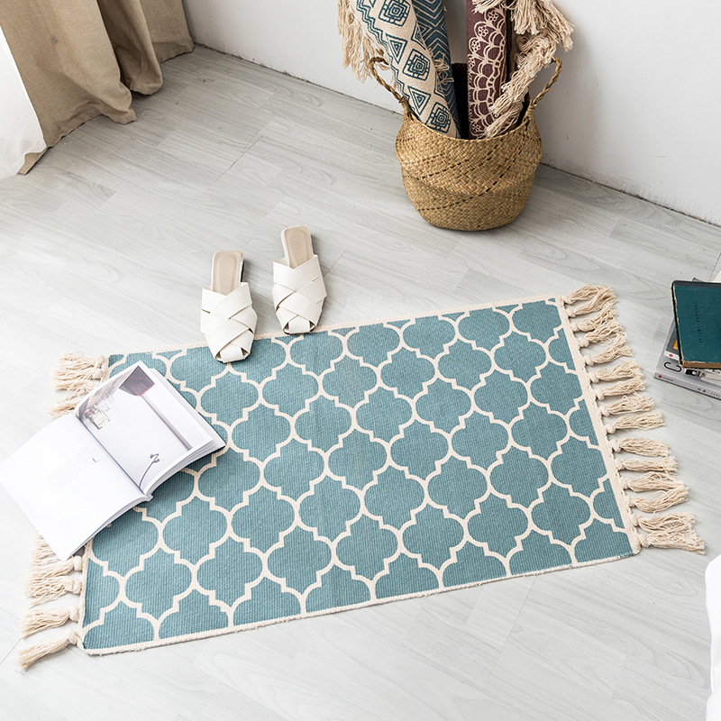 Newest 60*90CM Retro Bohemian Hand Woven Cotton Linen Carpets Tassel Bedside Rug Geometric Floor Mat Living Rooms Bedrooms Decor