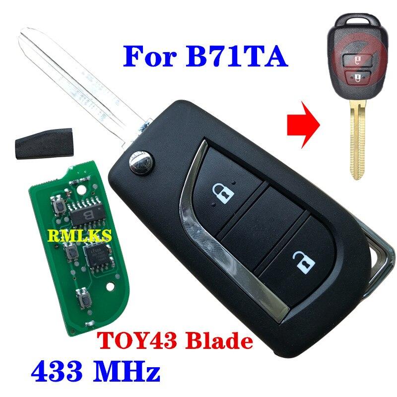 Clé de voiture télécommande à rabat 433 MHz G puce ou H puce B71TA adapté pour Toyota RAV4 Yaris 2012-2014 RAV4 2014-2015