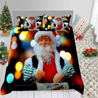 Thumbedding Santa Print Bedding Set Queen Size Fantasy Duvet Cover Christmas Decoration For Home King Twin Full Double Bed Set