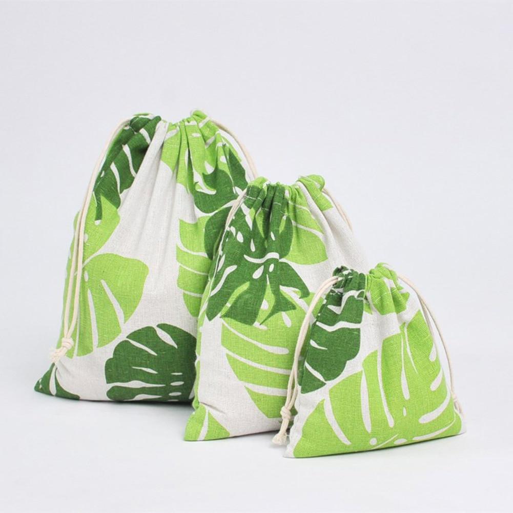 1pcs Wood Grain Drawstring Cotton Linen Storage Bag Gift Candy Tea Jewelry Organizer Makeup Cosmetic Coins Keys Bags