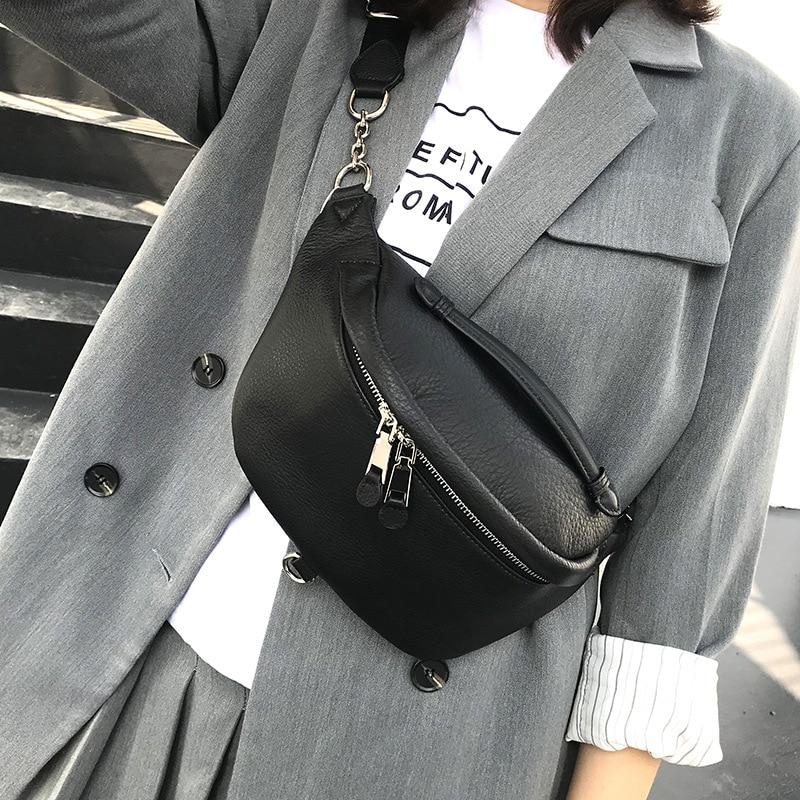 Cowhide Waist Pack Women's Designer Genuine Leather Crossboday Bag Zip Pocket Functional Money Phone Chest Pack Unisex Belt Bag