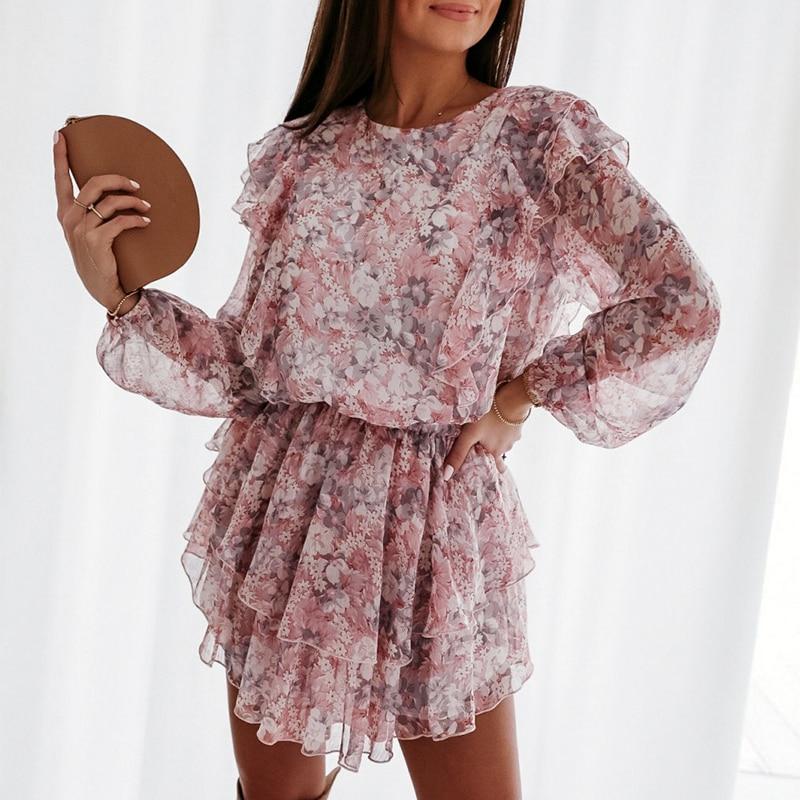 Elegant Floral Print Puff Sleeve A-Line Chiffon High Waist Sash Work Office Pink Dress 1