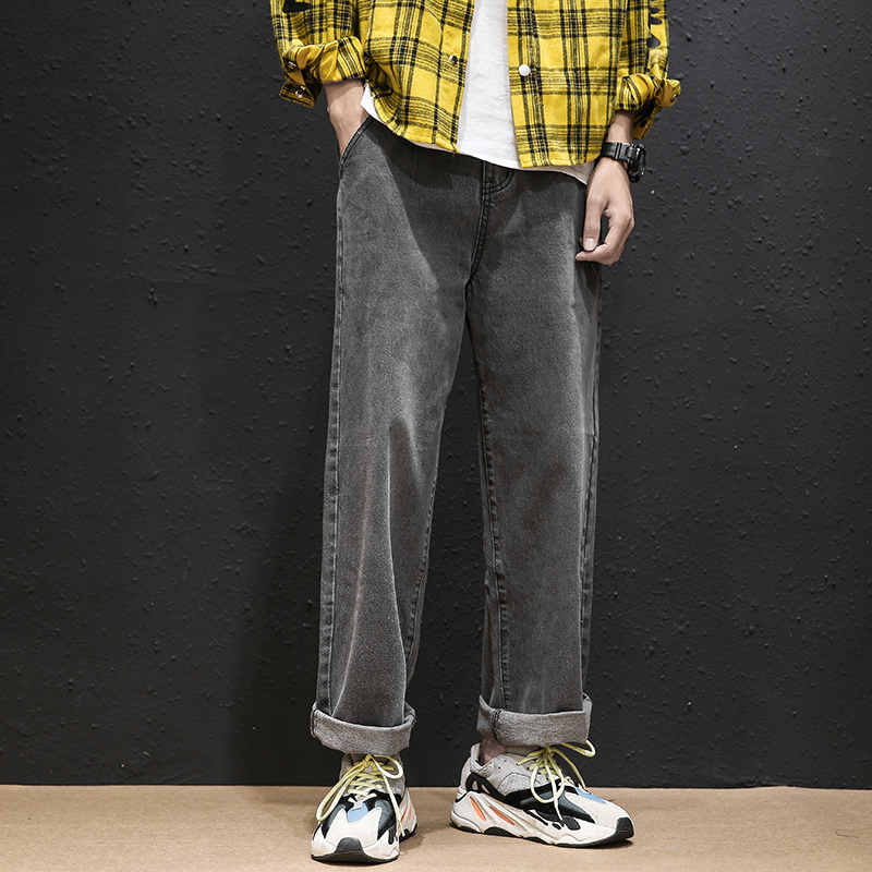 Men's Jeans 2019 Autumn And Winter New Solid Color Loose Straight Couple Jeans Young People Fashion Trend Men's Clothing