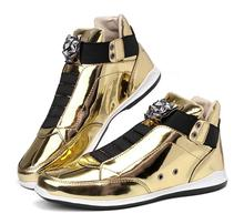 Gold non-mainstream men sneakers 2019 top fashion platform casual shoes high quality glitter and shine flat