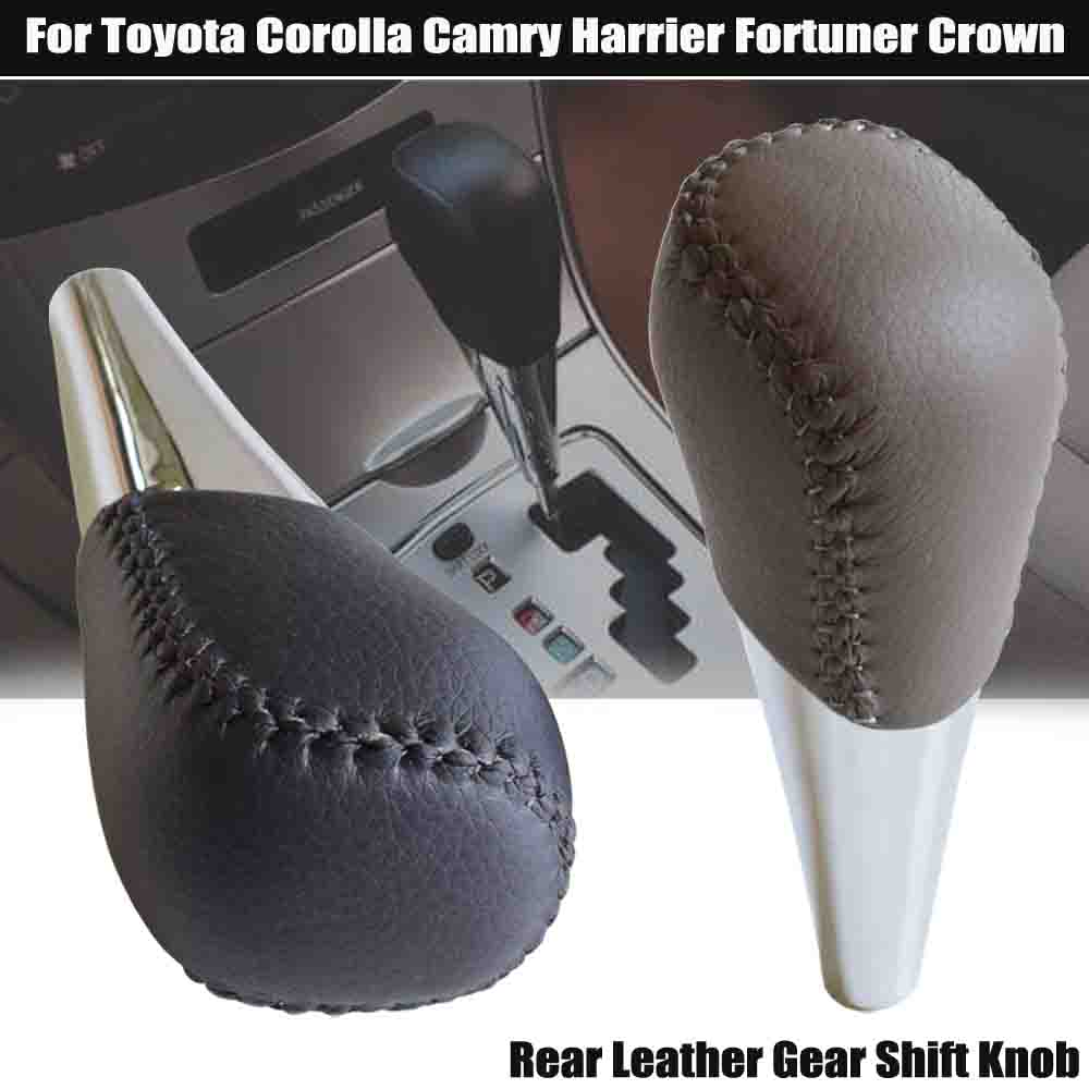 Gray/Black Real Leather Automatic Gear Shift Knob Lever HandBall For Toyota Corolla Camry HARRIER FORTUNER CROWN Land Cruiser