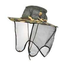 купить 2019 Unisex Fishing Hat Wide Brim Mesh  Outdoor Sport Camping Hiking Anti Mosquito Hat UV Protection Face Neck Flap Sun Cap онлайн