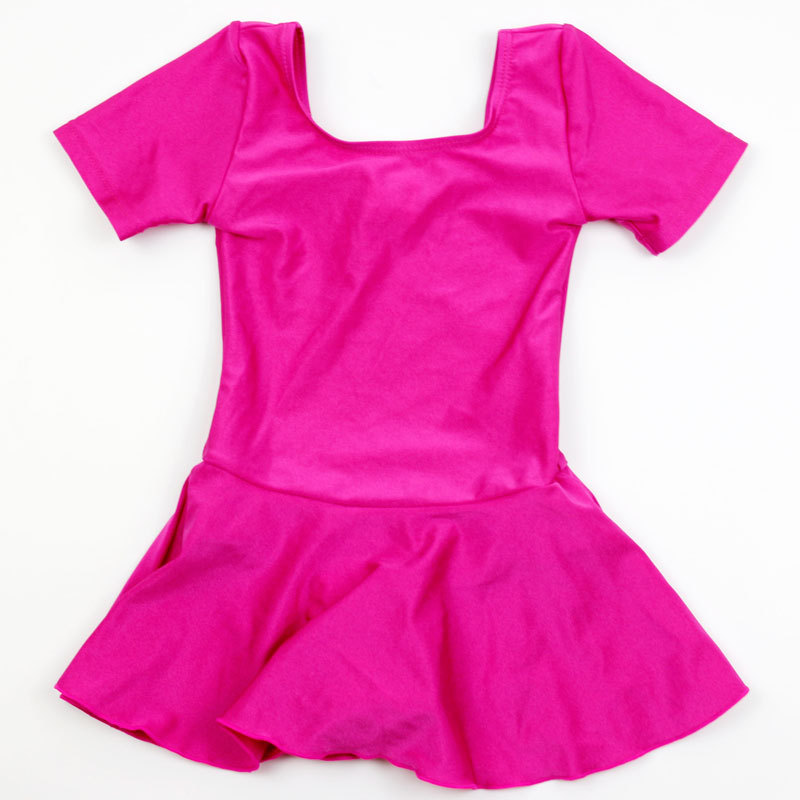 Children Dress-Short Sleeve Solid Color Bathing Suit Dance Game Swimwear Pink One-piece GIRL'S Cute Baby