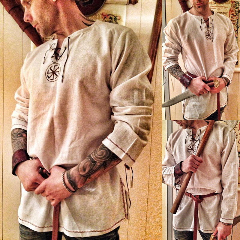 Medieval Shirt Robe Viking Men Dress Knight Renaissance Cotton Tunic Short Sleeve Shirts Tops Costume Disfraz Medieval With Belt