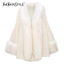 TWOTWINSTYLE Patchwork Pelz Knitting frauen Pullover Batwing Langarm Strickjacken Casual Pullover Herbst Weibliche Mode Kleidung