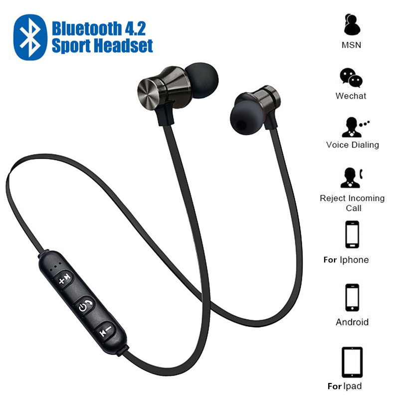 Magnetic Wireless Bluetooth Earphone  In-ear Headset Phone Neckband Sport Earbuds Earphone With Mic For IPhone Samsung Huawei