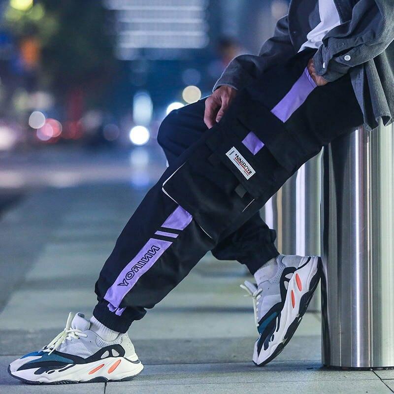 Men Streetwear Cargo Pants Black 2019 Hip Hop Overalls Mens Fashions Sweatpants Baggy Joggers Pants Casual Patchwork Pants Men