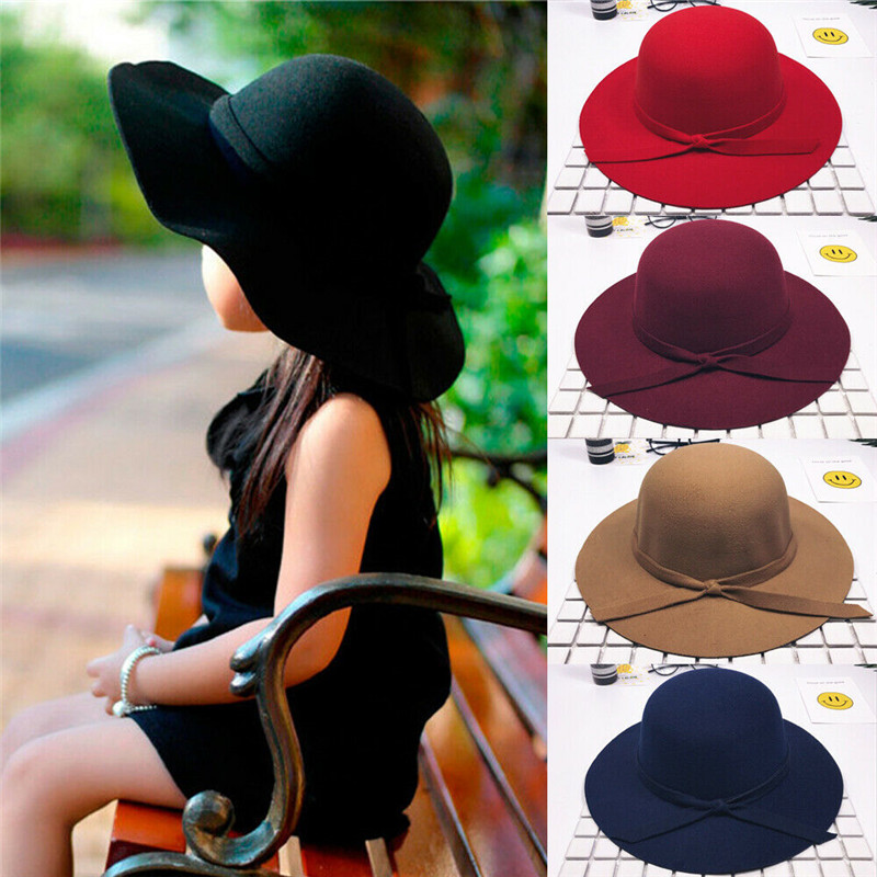 2-8years Children Hats Sweet Girls Kids Bow Knot Hats Bowler Beach Sun Protect Caps For Girls Bonnet Toddler Photography Props