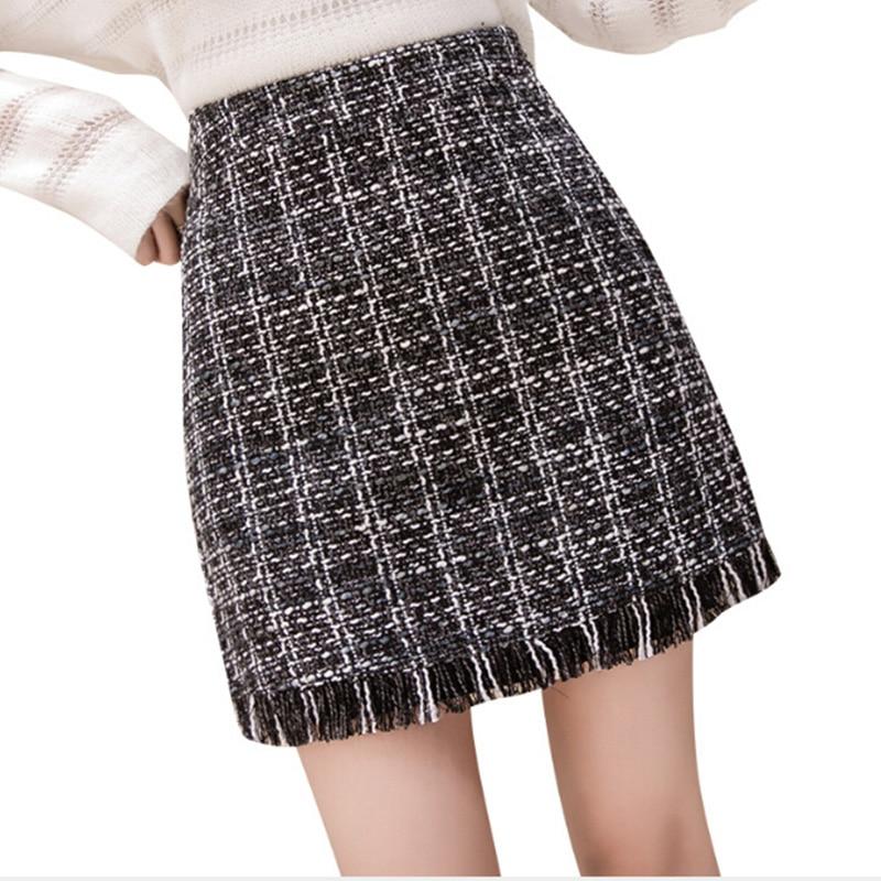 2019 Women Woolen Mini Skirt Spring Autumn Vintage Straight Plaid Tassel Skater Skirt High Waist Femininas
