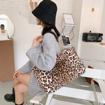 2020 New Winter Large Capacity Leopard Plush Shoulder Messenger Bag Soft Warm Faux Fur Handbag for Women Girl Christma Gift