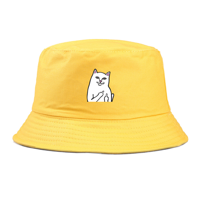 Men Women Bucket Hats Japan Korea Street Style funny cat Print Streamers Lace Up Cap Ladies Summer Sun Hat panama cap