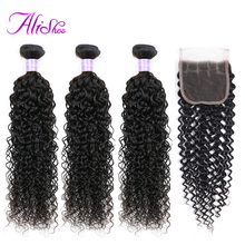 Alishes Malaysian Curly Hair 3 Bundles With Lace Closure Middle/Free Part Human Weave 4PCS Remy