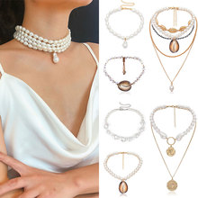 2019 New Arrival Fashion Multilayer Simple Necklace Imitation Pearl Shell Adjustable Pendant Necklaces Accessories 1PC