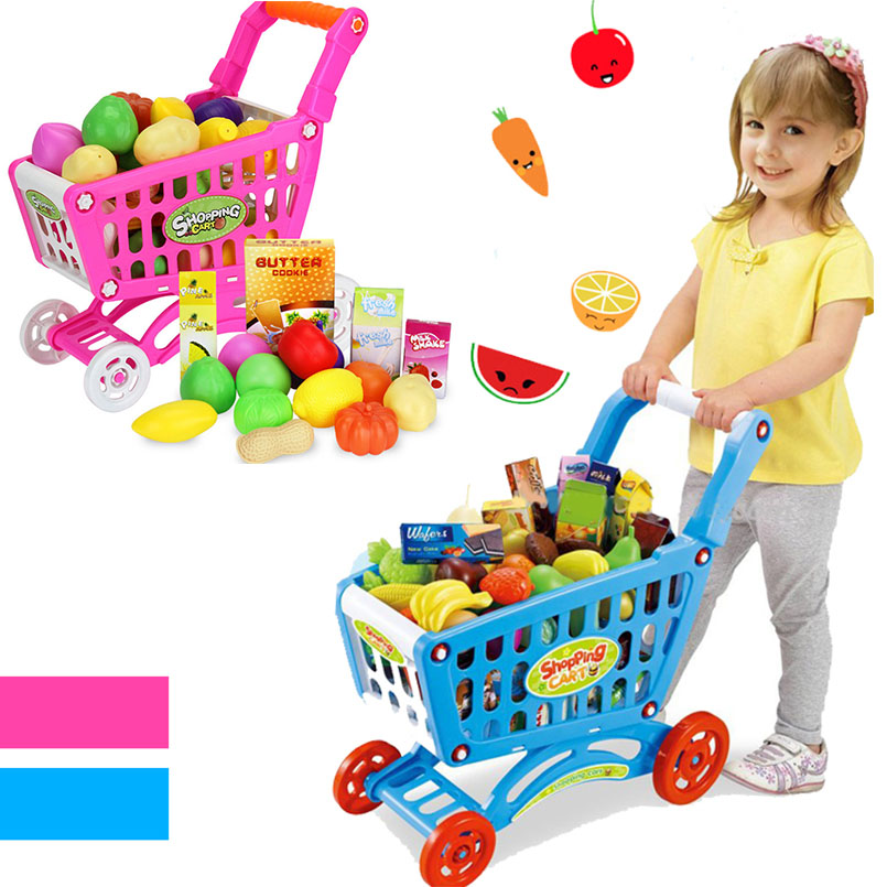 16Pcs Shopping Trolley Cart Supermarket Trolley Push Car Toys Basket Mini Simulation Fruit Food Pretend Play Toy For Children