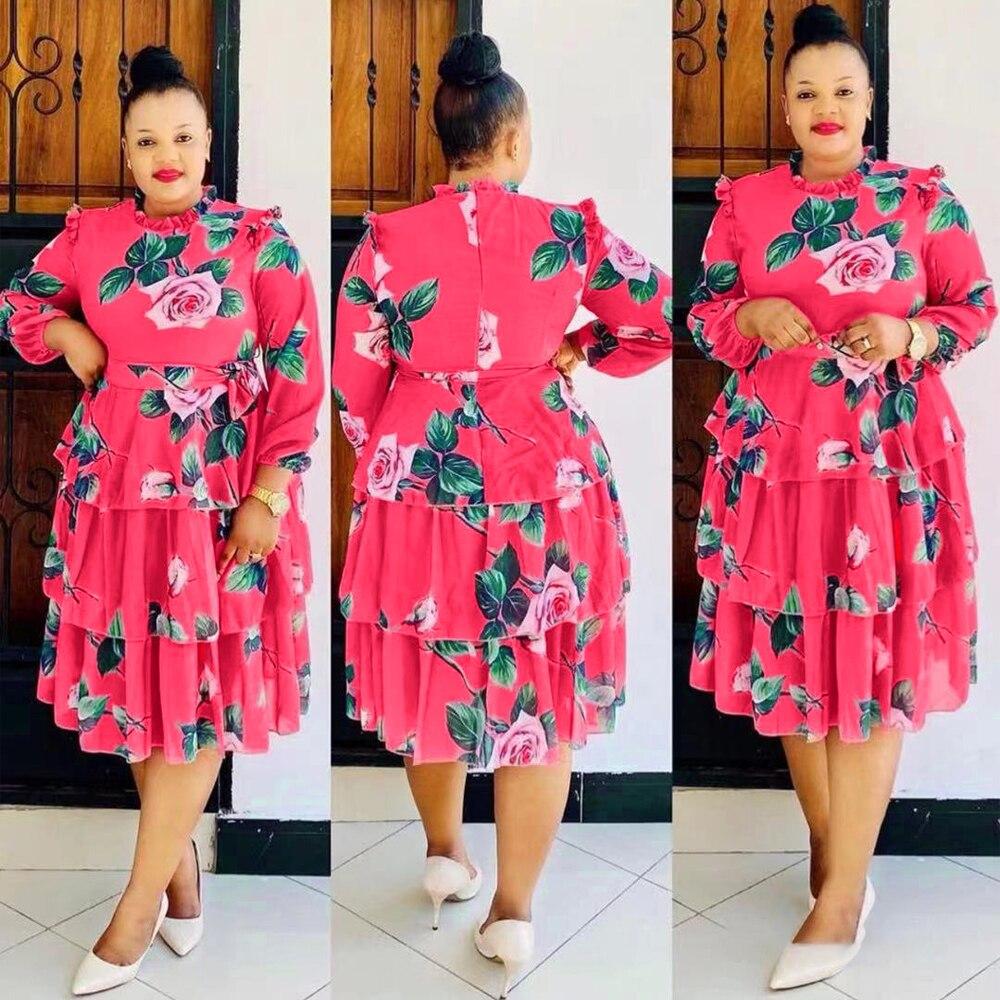 Women Kaftan African Print Floral Boho Dress 2