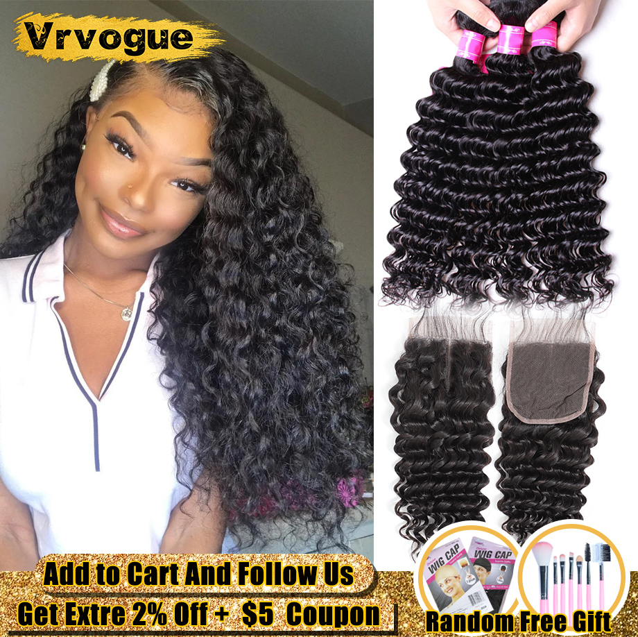 [Vrvogue] Deep Wave Bundles Brazilian Weavings With Closure With 4x4 Closure Smooth Weaving Human Hair Curls Remy Hair Extension