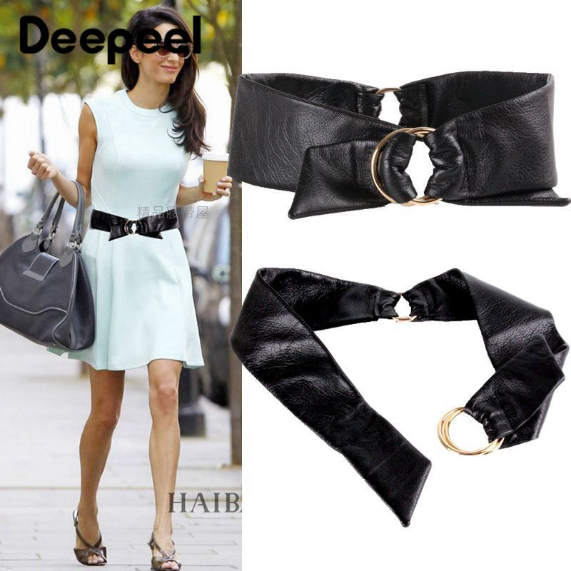 Deepeel 1pc 10cm*93cm Women Balck Lambskin Genuine Cummerbunds Adjustable Wide Waist Belts Luxury Ladies Girdle For Coat Dress