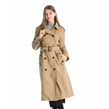 Autumn Casual Women Trench Coat Solid Color Double Breasted Outwear Fashion Sash