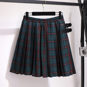 Image 3 - 2020 autumn winter plus size skirt for women large casual loose elastic waist plaid short pleated skirts green 4XL 5XL 6XL 7XL
