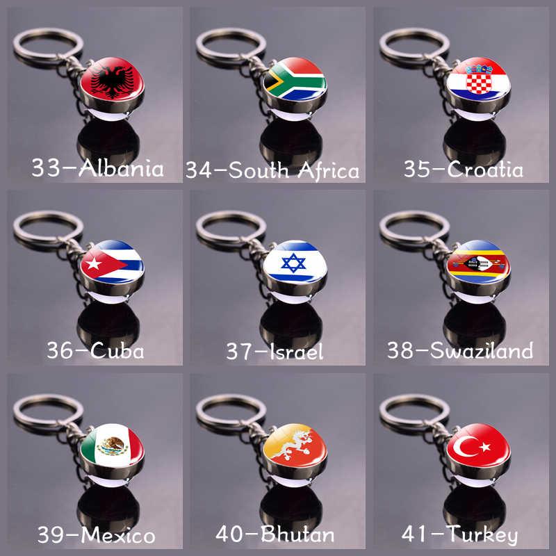 Futebol chaveiro bola de vidro pingente topo países do mundo bandeira chaveiros duplo lado bola de vidro jóias nacional futebol amante presente