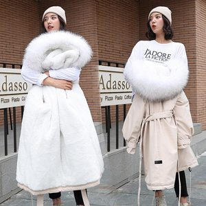 Image 2 - 2019 Women Winter Jacket With Large Fur Hooded New Arrival Female Long Winter Coat Parkas With Fur Lining