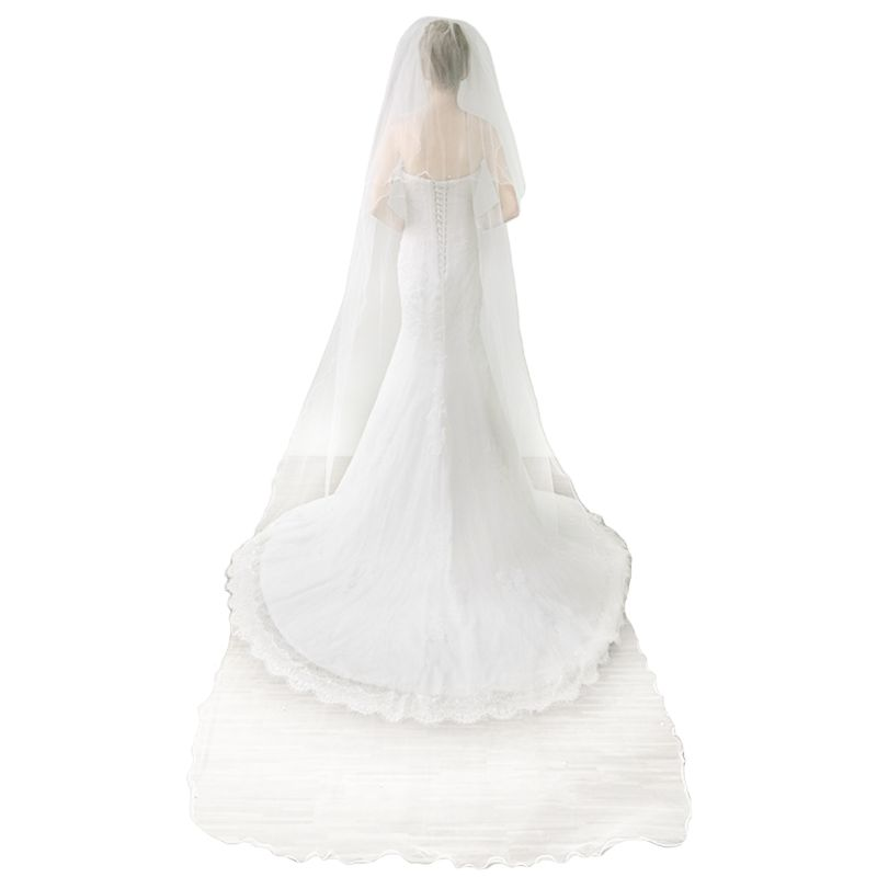 Women 2 Tier Trailing Cathedral Wedding Veil Wavy Pearl Beaded Bridal Headdress