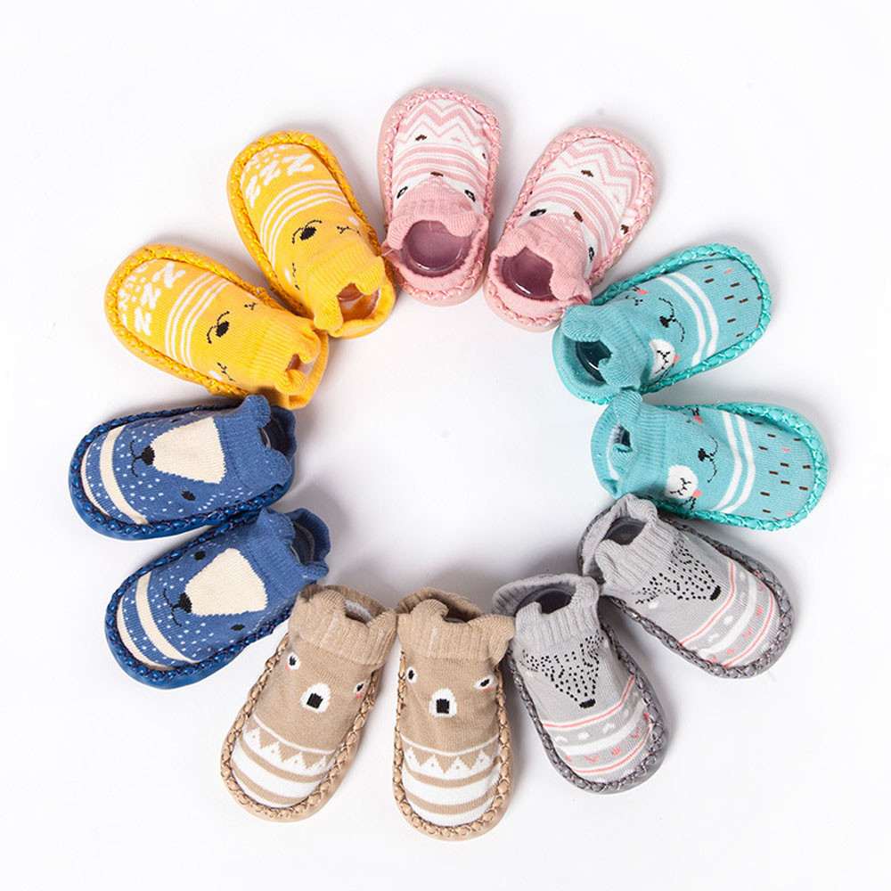 Newborn Baby Boys Girls Winter Autumn Socks Baby Anti Slip Socks Baby Boot Shocks Infant Warm Slipper Bell Cartoon Socks Shoes