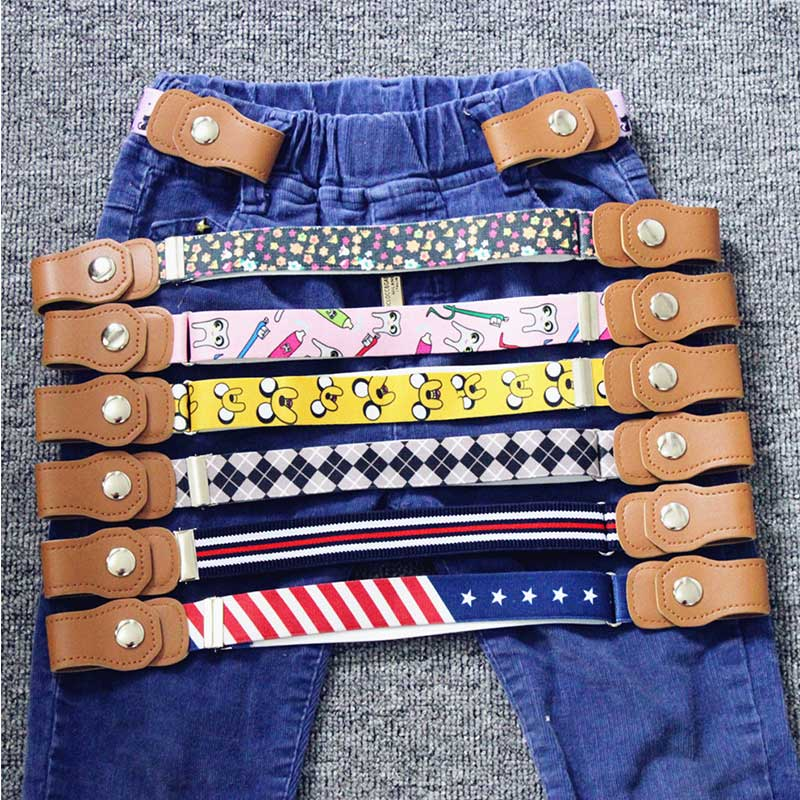 Child Kids Buckle-Free Elastic Belt No Buckle Stretch Canvas Belt For Boys Girls Adjustable Children Belts For Jeans Pants