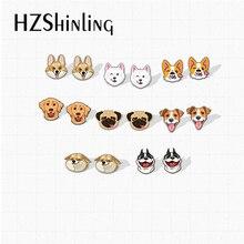 2020 New Cute Dogs and Puppies Kawaii Corgi Pug Bulldog Animals Pets Acrylic Epoxy Resin Earrings Handmade Gifts