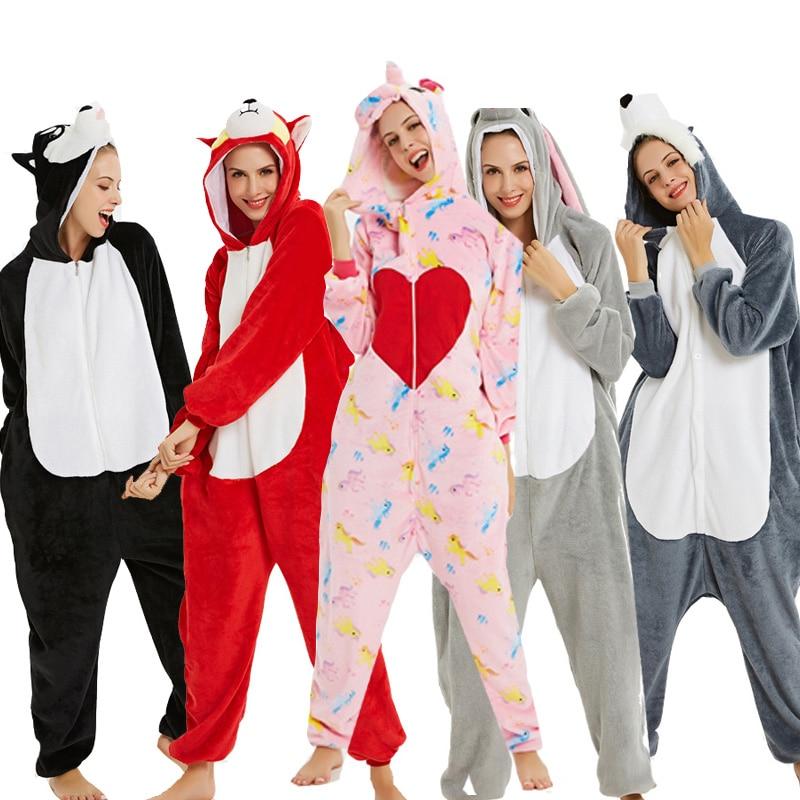 2019 Winter Warm Onesie Unisex Adult Animme Pajamas Unicorn Hooded Animal Cartoon Flannel Sleepwear Home Party Shark Costume
