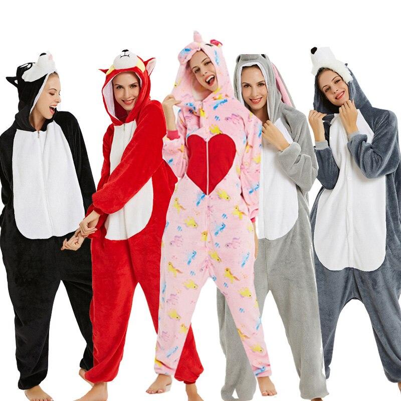 2019 Winter Warm Onesie Unisex Adult Kigurumi Pajamas Unicorn Hooded Animal Cartoon Flannel Sleepwear Home Party Shark Costume