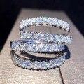 Однорядное кольцо с фианитом для женщин, однотонное серебряное кольцо с белым кристаллом ААА для свадебной вечеринки, кольцо вечности, пода...