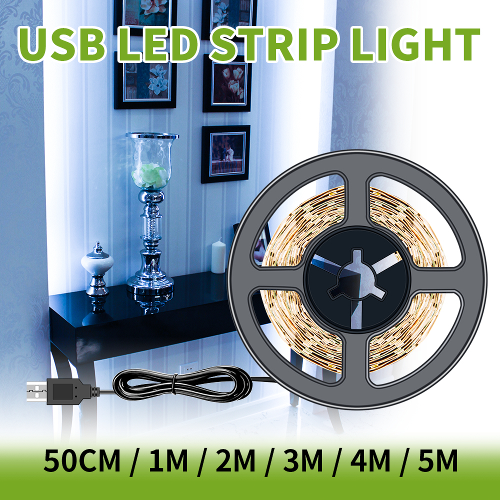 LED Strip 5V 2835 SMD USB Plug 1M 2M 3M 4M 5M USB LED Strip Light Lamp 220V Decor Lamp Tape For TV Background Lighting Bedroom