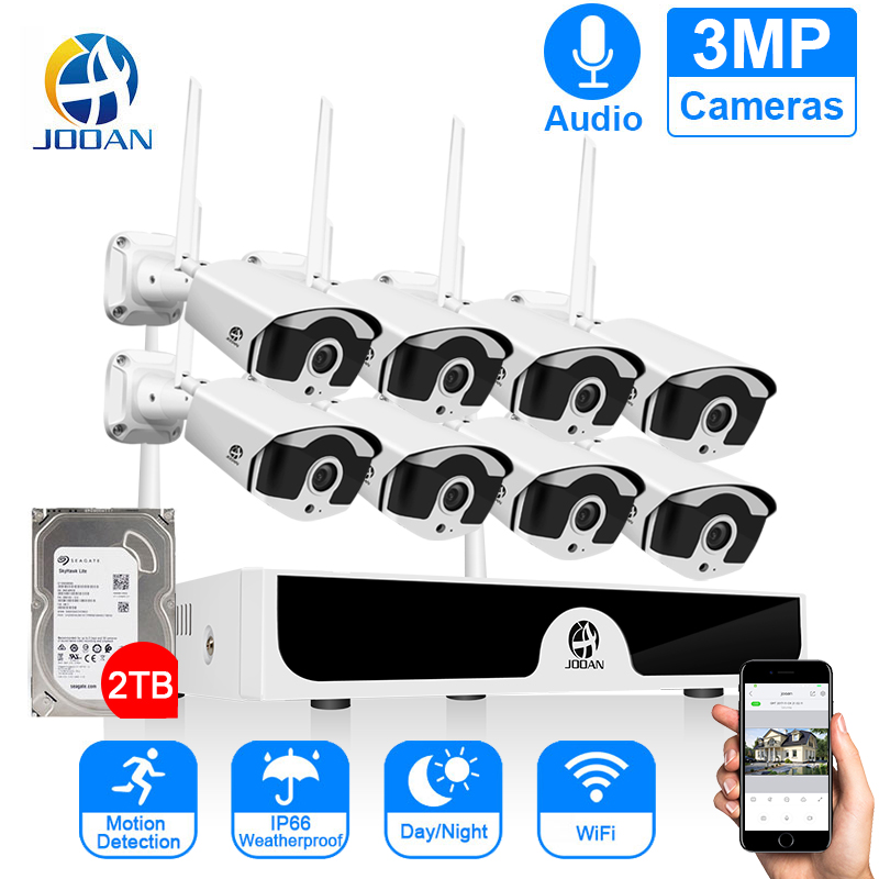 8CH NVR Wireless CCTV System Recorder 1T 2T 3MP IR-CUT Outdoor IP Camera Set Security System Audio Video Surveillance Kit H.265