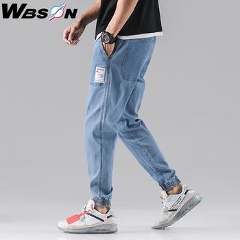 Wbson mężczyźni dżinsy mężczyźni mody mężczyźni Baggy dopasowane dżinsy mężczyźni dżinsy joggery dżinsy męskie dżinsy cargo SYG2307 tanie i dobre opinie WEIBINSEN Elastyczny pas Aplikacje Drukuj Denim Cargo pants Szczupła Na co dzień JEANS Midweight Pełnej długości Stripe