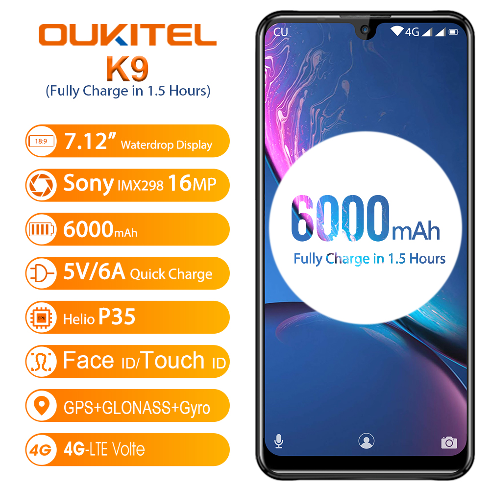 """OUKITEL K9 Mobile Phone 6000mAh Battery 4GB 64GB 7.12"""" FHD+ Water Drop Display 5V/6A Quick Charge 16MP/8MP Face ID Smartphone(China)"""