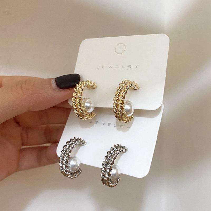 Vintage Simple Temperament Wild Twist Metal Hoop Earrings Simulated Pearl Circle Earrings Female Silver Gold Color Fine Jewelry