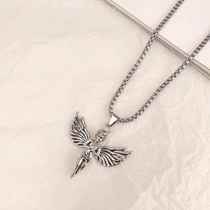 100% naszyjnik z aniołem ze stali nierdzewnej dla kobiet mężczyzn Gothic Streetwear Choker Internetgirl metalowy kołnierz
