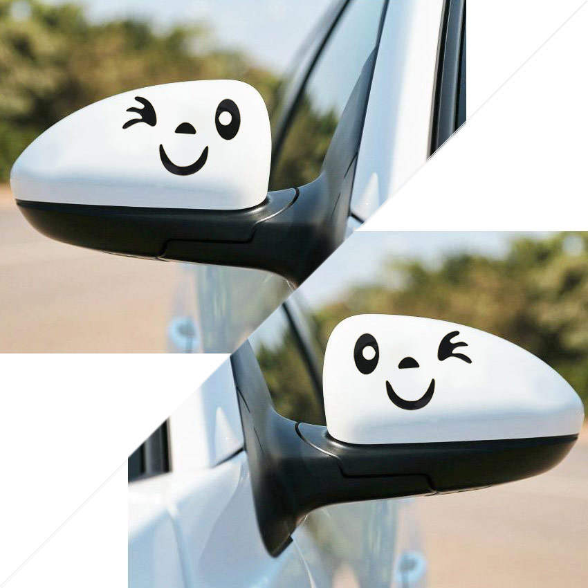 1 Pair Car Sticker Cute Smile Reflective Car Sticker Rear View Mirror Cartoon Smiling Face Sticker Car Decoration Decal image